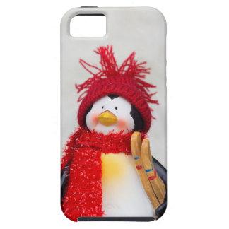 Het beeldje van de pinguïn met witte Kerstmisboom Tough iPhone 5 Hoesje