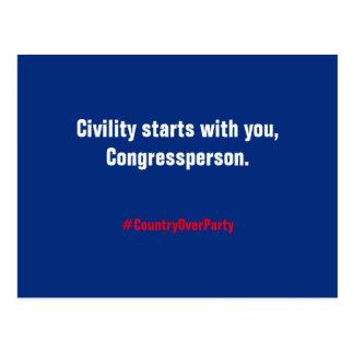 Het Begin van de beleefdheid met u, Congressperson Briefkaart