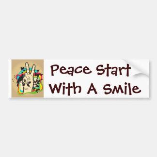 Het Begin van de vrede met een Glimlach Bumpersticker