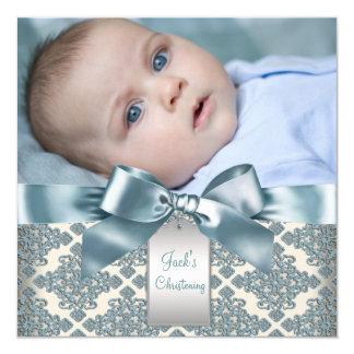 Het beige Blauwe Doopsel van de Foto van de Jongen 13,3x13,3 Vierkante Uitnodiging Kaart