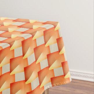 Het beige en oranje geometrische tafelkleed van