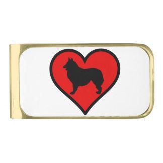 Het Belgische Silhouet van de Honden van de Liefde Vergulde Geldclip