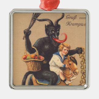 Het Berijden van Krampus Hobbelpaard met Jongen Zilverkleurig Vierkant Ornament