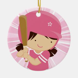 Het Beslag van het Meisje van het softball in Roze Rond Keramisch Ornament