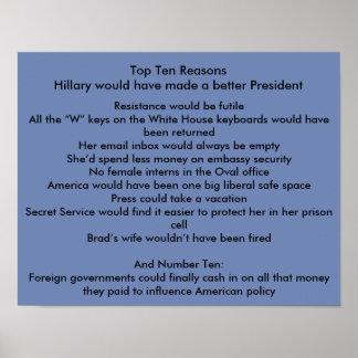 Het betere President van Hillary Poster