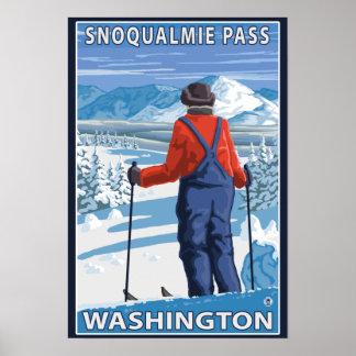 Het Bewonderen van de skiër - Snoqualmie Pas, Poster