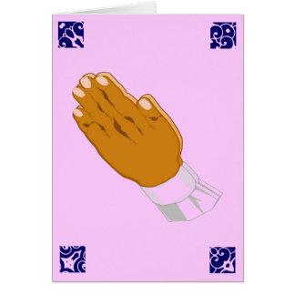 Het bidden de Groeten van Pasen van Handen in Roze Kaarten
