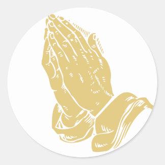 Het bidden Handen Ronde Sticker