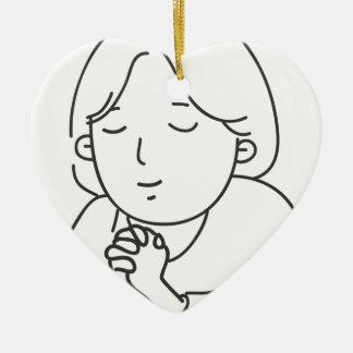 Het bidden keramisch hart ornament