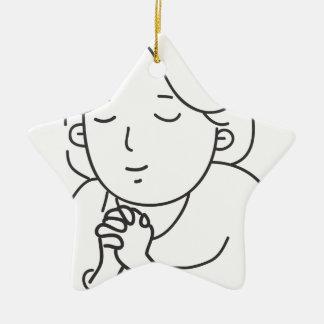 Het bidden keramisch ster ornament