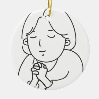 Het bidden rond keramisch ornament