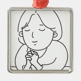 Het bidden zilverkleurig vierkant ornament