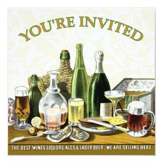 Het Bier Champagne, Oesters van de Uitnodiging van 13,3x13,3 Vierkante Uitnodiging Kaart
