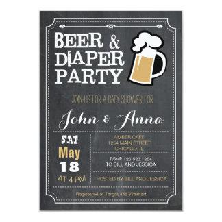 Het bier en de luierparenbaby shower van het bord 12,7x17,8 uitnodiging kaart