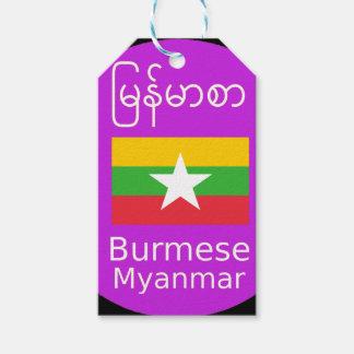 Het Birmaanse/Myanmar Taal en Ontwerp van de Vlag Cadeaulabel