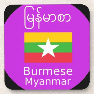 Het Birmaanse/Myanmar Taal en Ontwerp van de Vlag Drankjes Onderzetter