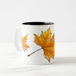 Het Blad van de Esdoorn van de herfst Tweekleurige Koffiemok