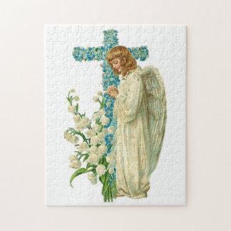 Het blauw bloeide Christelijk Kruis Puzzel