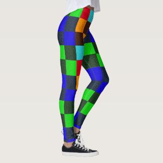 Het blauw bruint het Groene Rode Patroon van Leggings
