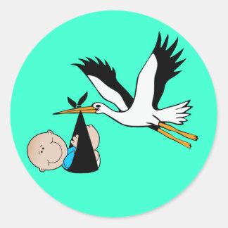 Het Blauw & de Ooievaar van de Jongen van het baby Ronde Sticker