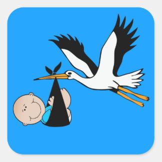 Het Blauw & de Ooievaar van de Jongen van het baby Vierkante Stickers