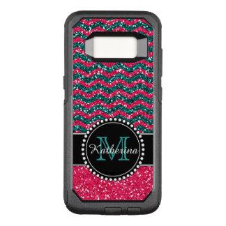 Het blauw & het Roze schitteren Chevron OtterBox Commuter Samsung Galaxy S8 Hoesje
