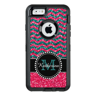 Het blauw & het Roze schitteren Chevron OtterBox Defender iPhone Hoesje