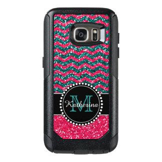 Het blauw & het Roze schitteren Chevron OtterBox Samsung Galaxy S7 Hoesje