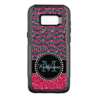 Het blauw & het Roze schitteren Gepersonaliseerde OtterBox Commuter Samsung Galaxy S8+ Hoesje