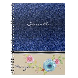 Het blauw schittert en Kleurrijk BloemenMonogram Ringband Notitieboek