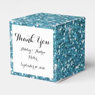 Het blauw schittert Gedrukt Bedankdoosjes