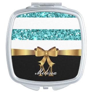 Het blauw SCHITTERT het ZWART-WITTE GOUDEN Makeup Spiegels