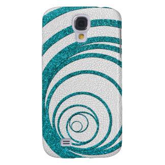Het blauw schittert Swirly Galaxy S4 Hoesje