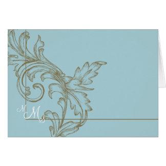 Het Blauw van Acanthus van Monogramed dankt u Briefkaarten 0