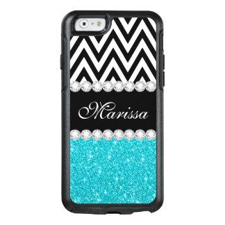 Het Blauw van Aqua schittert de Zwarte Witte OtterBox iPhone 6/6s Hoesje