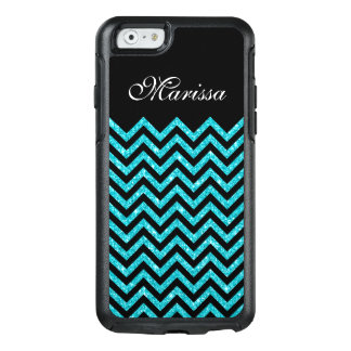 Het Blauw van Aqua schittert Zwarte Chevron OtterBox iPhone 6/6s Hoesje