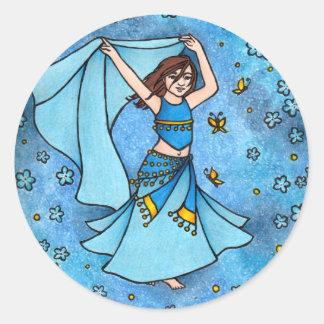 Het Blauw van de Danser van de Buik van het meisje Ronde Sticker