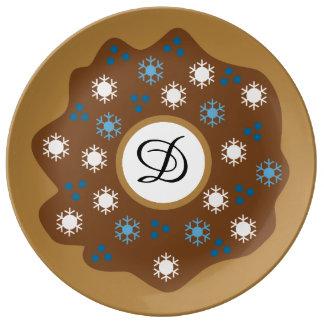 Het Blauw van de Doughnut van Kerstmis van de Porseleinen Bord