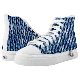 Het Blauw van de indigo breit Hoge Bovenkant High Top Schoenen