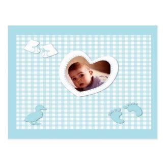 Het Blauw van de Jongen van het baby controleert d Briefkaart