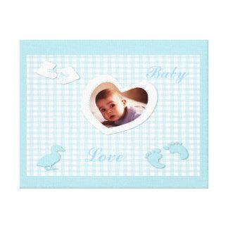 Het Blauw van de Jongen van het baby controleert d Stretched Canvas Afdrukken