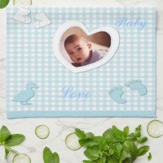 Het Blauw van de Jongen van het baby controleert d Theedoeken