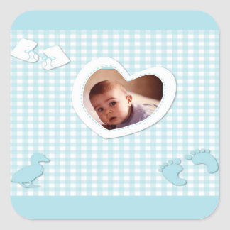 Het Blauw van de Jongen van het baby controleert Vierkant Stickers