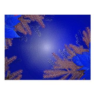 Het Blauw van de Poinsettia van Kerstmis Wenskaarten