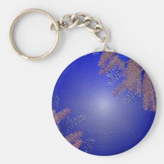 Het Blauw van de Poinsettia van Kerstmis Basic Ronde Button Sleutelhanger