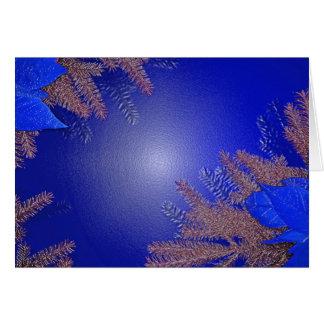 Het Blauw van de Poinsettia van Kerstmis Wenskaart