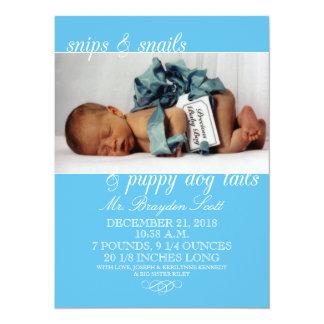 Het Blauw van het baby knipt & van de Foto van 13,9x19,1 Uitnodiging Kaart