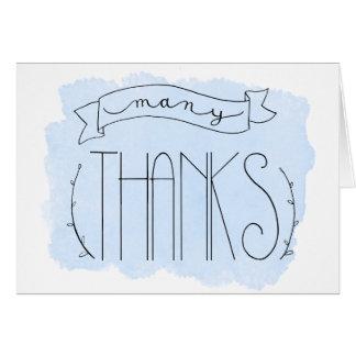 Het Blauw van het baby Veel Bedankt dankt u kaardt Wenskaart