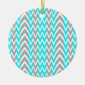 Het Blauw van het neon met Grijze Vinnen Rond Keramisch Ornament