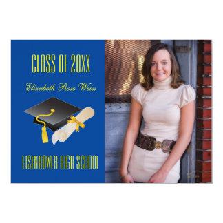 Het Blauw van het pet & van het Diploma - de 12,7x17,8 Uitnodiging Kaart